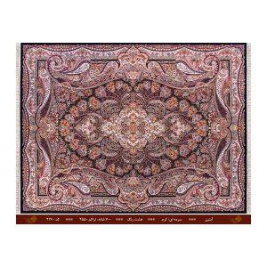 فرش تندیس کاشان 8 رنگ مدل آبتین رنگ سورمه ای_کرم