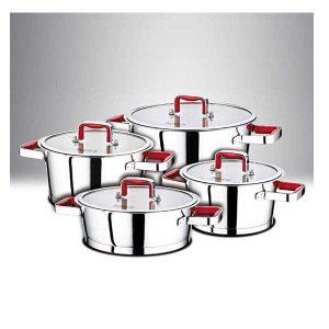سرویس 8 پارچه استیل فالز با کفه کپسول دار مدل کنیک دسته قرمز