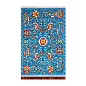 فرش تندیس کاشان 6 متری 8 رنگ نقشه آبی