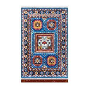 فرش تندیس کاشان 6 متری 8 رنگ نقشه آبی _کرم