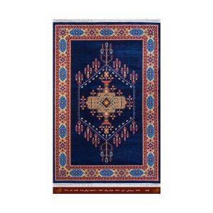فرش تندیس کاشان 6 متری 8 رنگ نقشه سورمه ای _کرم