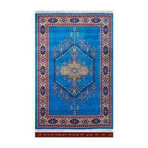 فرش تندیس کاشان 6 متری 8 رنگ نقشه آبی_ کرم