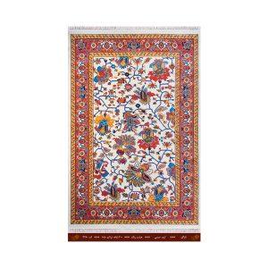 فرش تندیس کاشان 6 متری 8 رنگ ناز گل کرم _ مسی