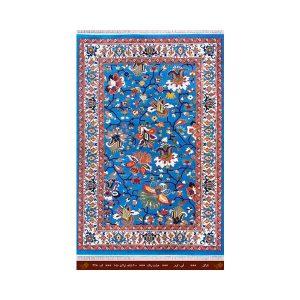فرش تندیس کاشان 8 رنگ نازگل آبی_کرم 6 متری