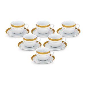 سرویس چایی خوری 12 پارچه چینی زرین مدل ترمه نگار سری ایتالیااف
