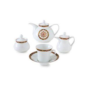 سرویس چای خوری 18 پارچه چینی زرین مدل گلدن گاردن سری شهرزاد