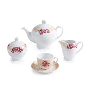 سرویس چای خوری 17 پارچه چینی زرین مدل هلن سری ایتالیااف