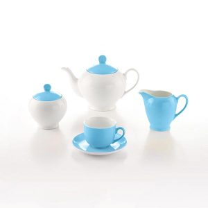 سرویس چای خوری 17 پارچه چینی زرین مدل آیریس آسمان سری آلگرو