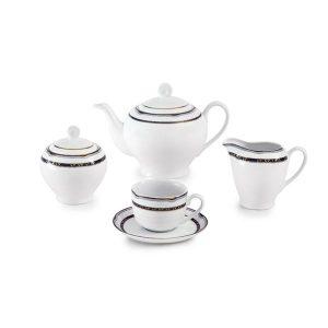 سرویس چای خوری 17 پارچه چینی زرین مدل پرشیا سرمه ای سری ایتالیااف