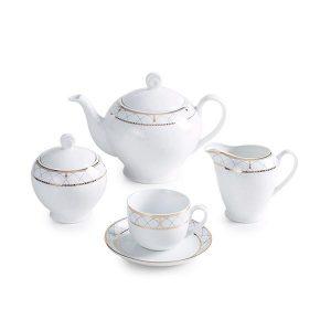سرویس چای خوری 17 پارچه چینی زرین مدل روما سری ایتالیااف