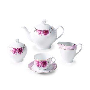 سرویس چای خوری 17 پارچه چینی زرین مدل رزفلاور سری ایتالیااف