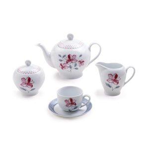 سرویس چای خوری 17 پارچه چینی زرین مدل والنسیا سری ایتالیااف