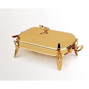 سوفله خوری مستطیل کوچک تک استیل سری لوپ طلایی براق