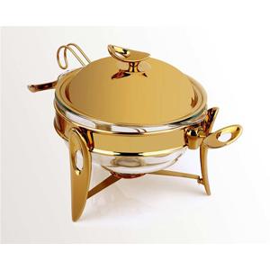 سوپ خوری متوسط تک استیل سری لوپ طلایی براق
