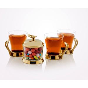سرویس چایخوری تک استیل سری لوپ طلایی براق