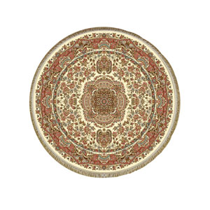 فرش ابریشمی گرد کرامتیان مدل رز کرم قطر 1.5 متر