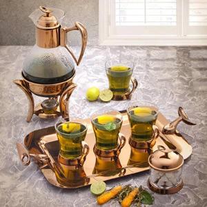 سرویس چای خوری لوپ رزگلد تک استیل